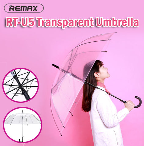 Remax RT-U5 Transparent Umbrella UV Protection Light Easy to Carry Slim Rain Sun