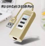 Remax RU-U4 Cati 3-USB 2.0 Port Hub Multiport Extension Computers Laptops Phones