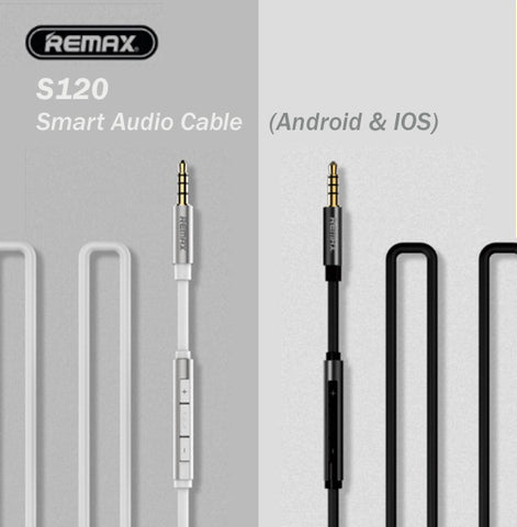 Remax S120 Smart Audio Music AUX Cable with Mic for Android IOS Apple Samsung