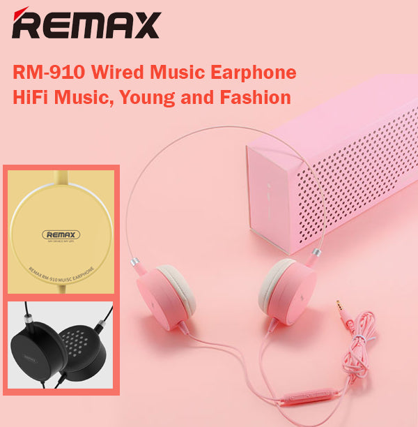 Remax RM-910 Wired Earphone Headphone HD Headset HiFi Music High Compatibility