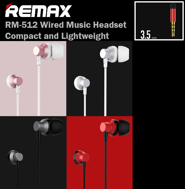 Remax RM-512 Wired Music Headset with Mic 1.2M 3.5mm AudioJack Earphone Earpiece