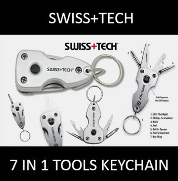 Swiss+Tech 7-in-1 Key Ring Multi-Tool Handy Portable Knife Screwdriver LED Light