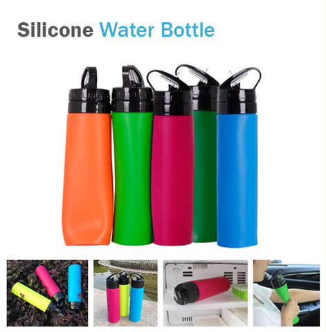 Silicone 550ml Collapsible Foldable Easy Squeeze Non-Slip Unbreakable Bottle