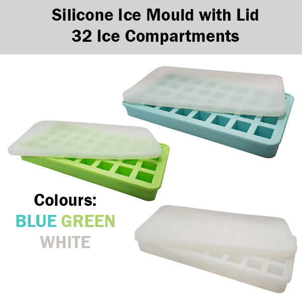 Silicone Ice Mould Tray with Lid 32 Compartments Easy Twist Dishwasher Safe