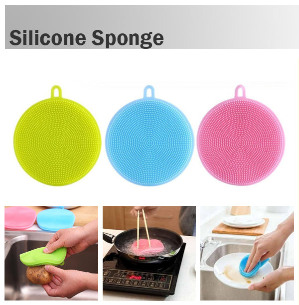 Silicone Sponge Scrubber Dish Washing Antibacterial Kitchen Tool Makeup Brush