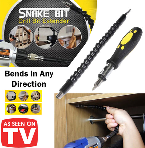 As Seen On TV Snake Bit Drill Extender Bend Any Direction Flexible Steel Body