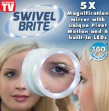 Swivel Brite Lighted LED Mirror Lights Pivotal Magnified Magnification Magnify