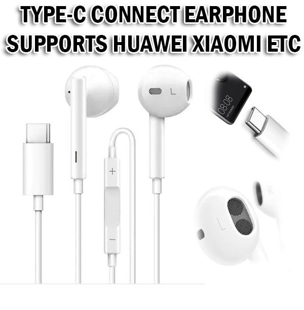 Type C Earphone Earpiece Connectivity Handsfree Music Phone Handphone Huawei Android
