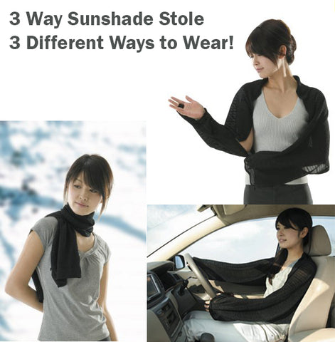 3 Way Sunshade Stole Scarf Protection Arms Shoulder Neck Shawl Finger Slip-In