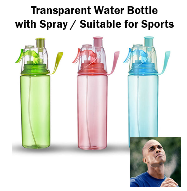 Transparent Spray Water Bottle Sports Exercise Refreshing Mist Handle Portable