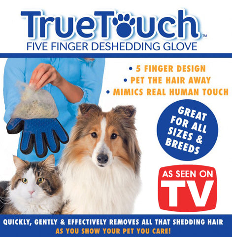 As Seen On TV True Touch Five Fingers Deshedding Glove Pets Dog Cat Pet Hair Fur