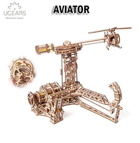 UGEARS Aviator DIY Wooden Building Mechanical Model Gift Kit