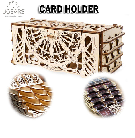 UGEARS Card Holder DIY Wooden Building Mechanical Model Gift Kit