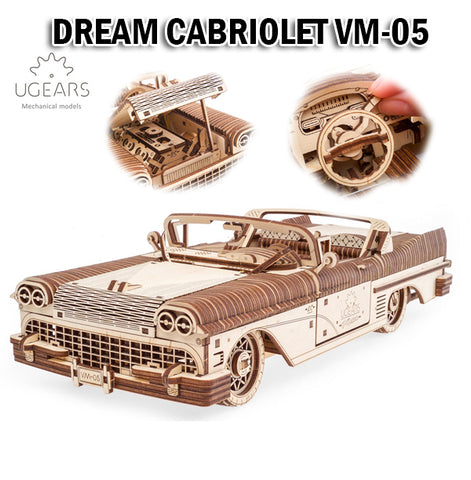 UGEARS Dream Cabriolet VM-05 DIY Wooden Building Mechanical Model Gift Kit