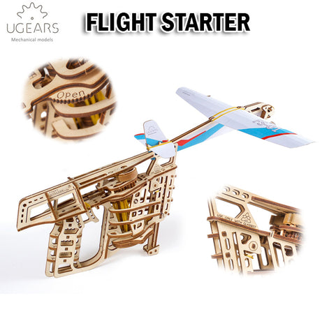 UGEARS Flight Starter DIY Wooden Building Mechanical Model Gift Kit