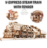 UGEARS V-Express Steam Train witn Tender DIY Wooden Building Mechanical Model Gift Kit