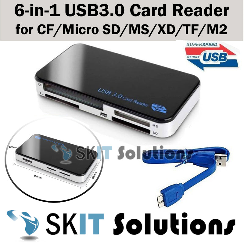 ★6IN1 USB 3.0 Multi Memory Card Reader Adapter for Compact Flash CF / Micro SD / MS / XD / TF / M2★