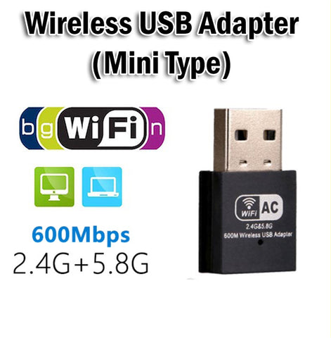Mini Wireless WiFi USB Adapter 600Mbps AC Dual Band AC600 Wi-Fi 2.4GHz 5.8GHz