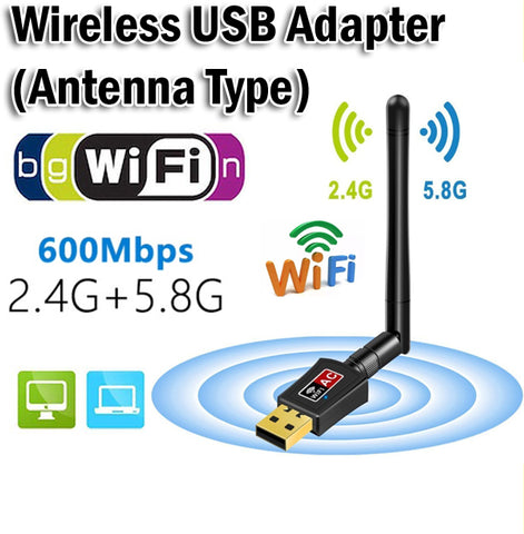 Antenna Wireless WiFi USB Adapter 600Mbps AC Dual Band AC600 Wi-Fi 2.4GHz 5.8GHz
