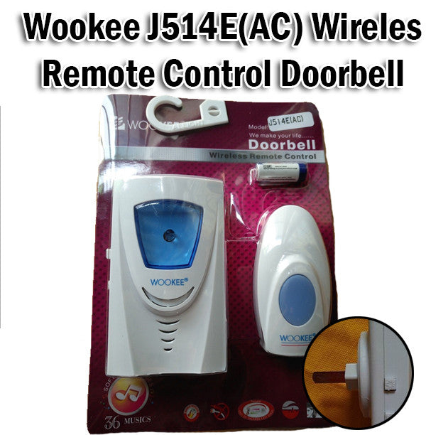 Wookee J514E (AC) Wireless Remote Control Doorbell Music Easy to Install No Wire