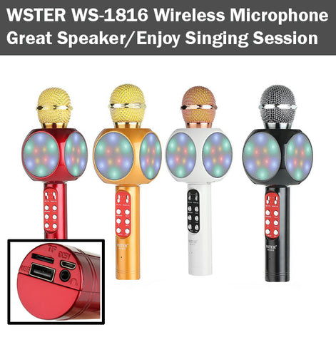 WSTER WS-1816 Wireless Handheld Microphone Mic Mike Speaker Singing TF Card