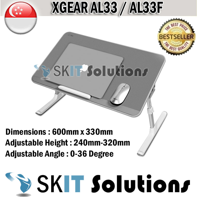 Xgear AL33F AL33 Foldable Portable Laptop Desk Table Adjustable Tray Bed Monitor Stand Holder