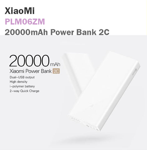 Xiaomi 2C 20000mAh Power Bank Portable Charger USB Cable Micro Lightning Type-C