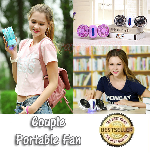 Mini Portable and Foldable Couple Fan