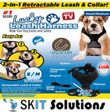 2 in 1 Convenient Retractable Magnetic Harness Leash Collar Walk Dog up to 80lbs