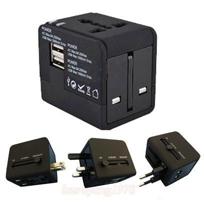 2.1A Dual USB Port Travel Wall Charger with AU/EU/US/UK Socket