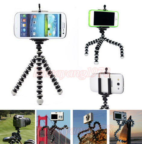 Octopus Style Mini Portable Tripod Stand+Phone Holder Bracket