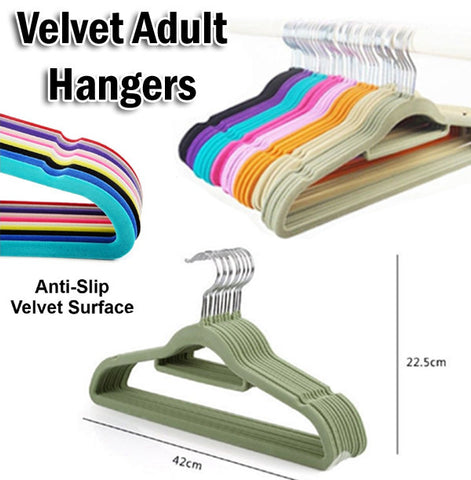 Non-Slip Velvet Adult Anti Slip Dry Hanger / Dress Clothes Organizer Holder