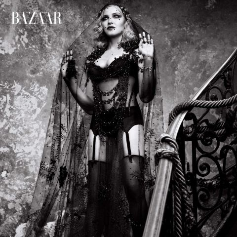 Madonna: Gunmetal baroque rings, HARPER'S BAZAAR collectible cover and inside book
