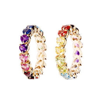 14k gold double stone rainbow ring