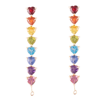 Rainbow heart drop earrings