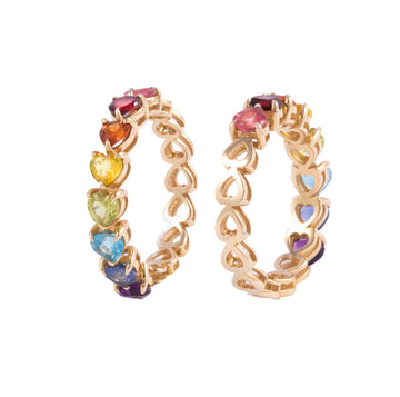 14k gold rainbow half-eternity ring