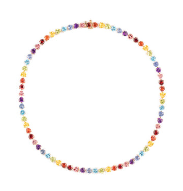 Rainbow heart gems tennis necklace