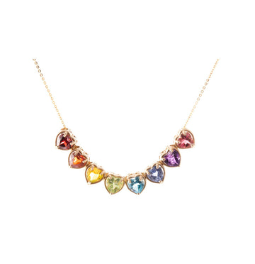 Rainbow heart gems slider necklace