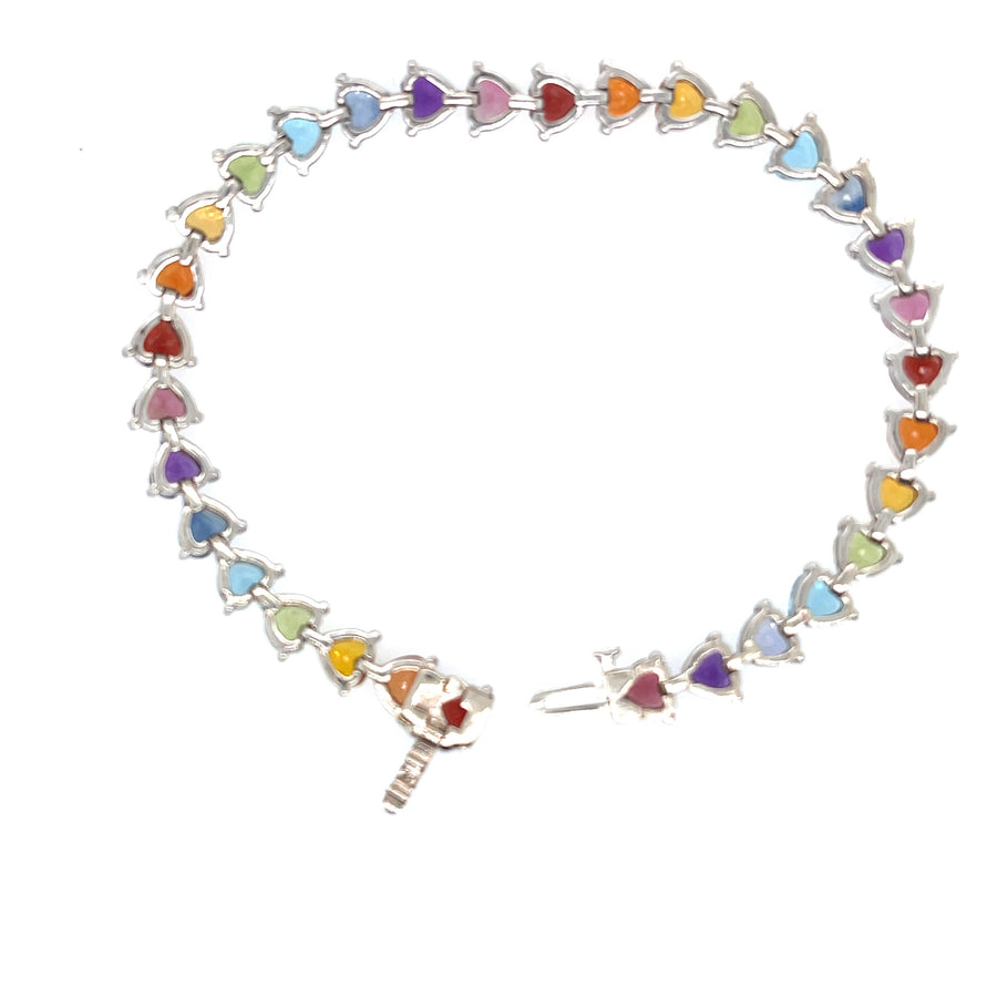 Rainbow heart tennis bracelet