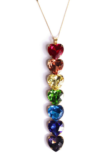 Rainbow heart pendant necklace Necklace Mordekai