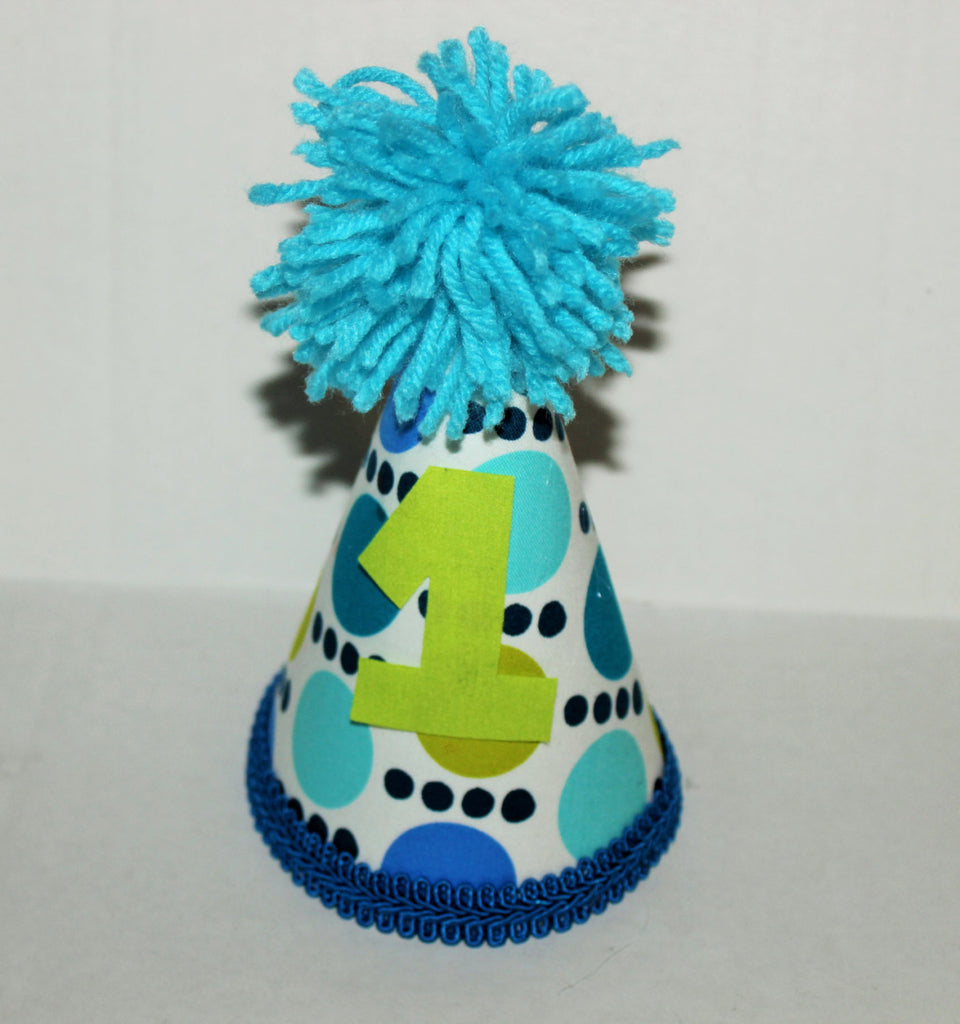 Baby Boy Toddler Cake Smash Outfit With Party Hat Blue And Green Polka Dots