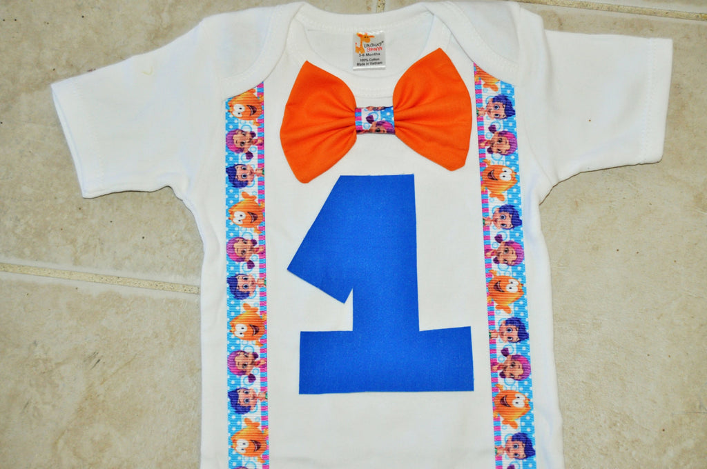 Inspired Bubble Guppies cake smash outfit with party hat, Bubble Guppies  cake smash boys birthday, bowtie Gil Molly Deema NONNY Oona Goby - Ultimate
