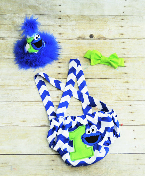 Lime Green And Blue Cookie Monster Birthday Outfit Cake Smash 1st 2nd 3rd Birthday Boys Cake Smash Outfit Diaper Cover And Suspenders Ultimate