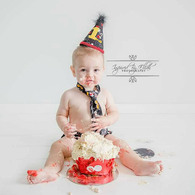 Cake Smash Outfit With Party Hat Mickey Tie Boys First