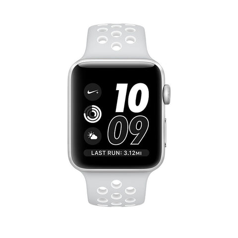 Apple Nike+ 42mm Silver Aluminum Case Sport Band MQ192 (White)