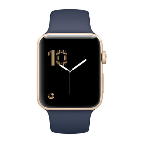 Apple Watch 38mm Gold Aluminum Case with Midnight Blue Sport Band MQ102 (Gold Blue)