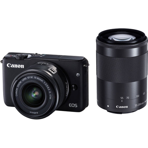 Canon EOS M10 with 15-45mm and 55-200 Black Digital SLR Camera