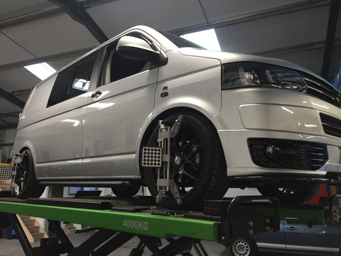 Vw t5 four wheel alignment at Volks workshop