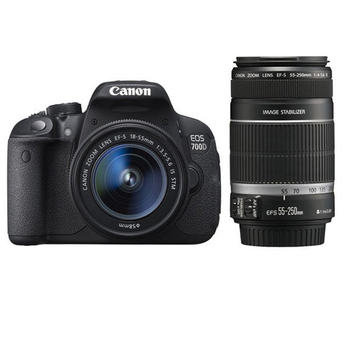 Canon EOS 700D Kit mit EF-S 18-55mm f/3.5-5.6 IS STM und EF-S 55-250mm f/4-5.6 IS STM Objektiv Schwarz Digital SLR Kamera