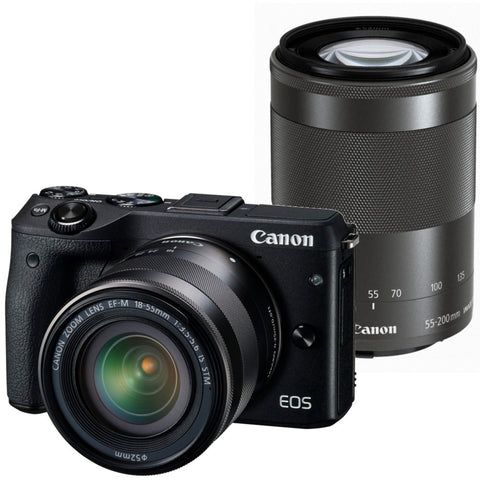 Canon EOS M3 mit EF-S 18-55mm f/3.5-5.6 IS STM and EF-M 55-200mm f/4.5-6.3 IS STM Lens Schwarz Digital SLR Kamera